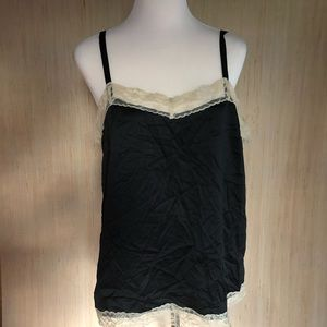 XXL plus lingerie sleep cami silk black sexy top